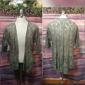 Lace olive green duster jacket size S